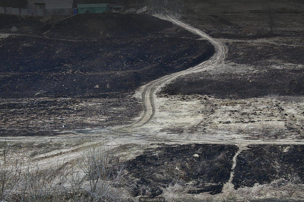 Минималистичный пейзаж, сквозь выгоревшие по весне поля идёт светлая полоса дороги.