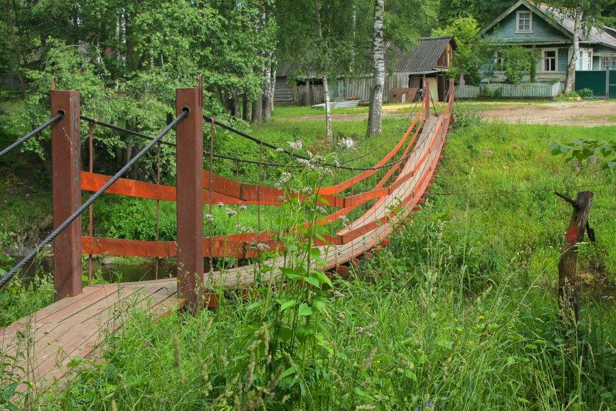 Над деревенским ручьём перекинут небольшой подвесной мостик. берега заросли густой травой.