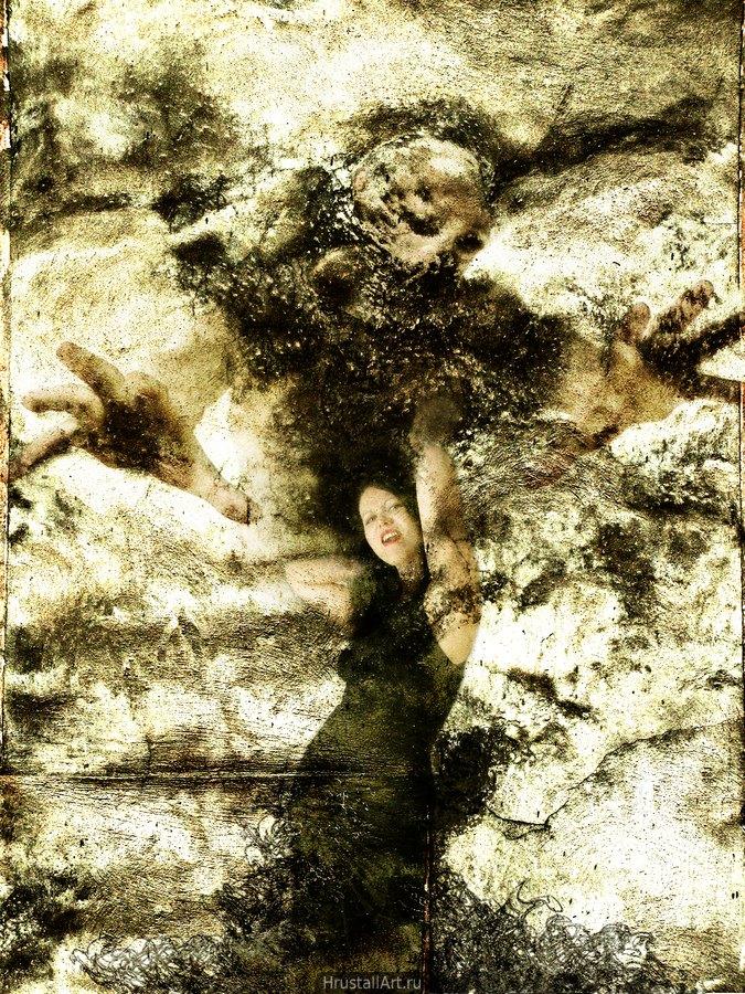 Неясный песчано-коричневый фон, женщина в вызывающей позе с раскрытым в крике ртом. Её волосы похожи на дым и обретают форму зловещего субкуба.
