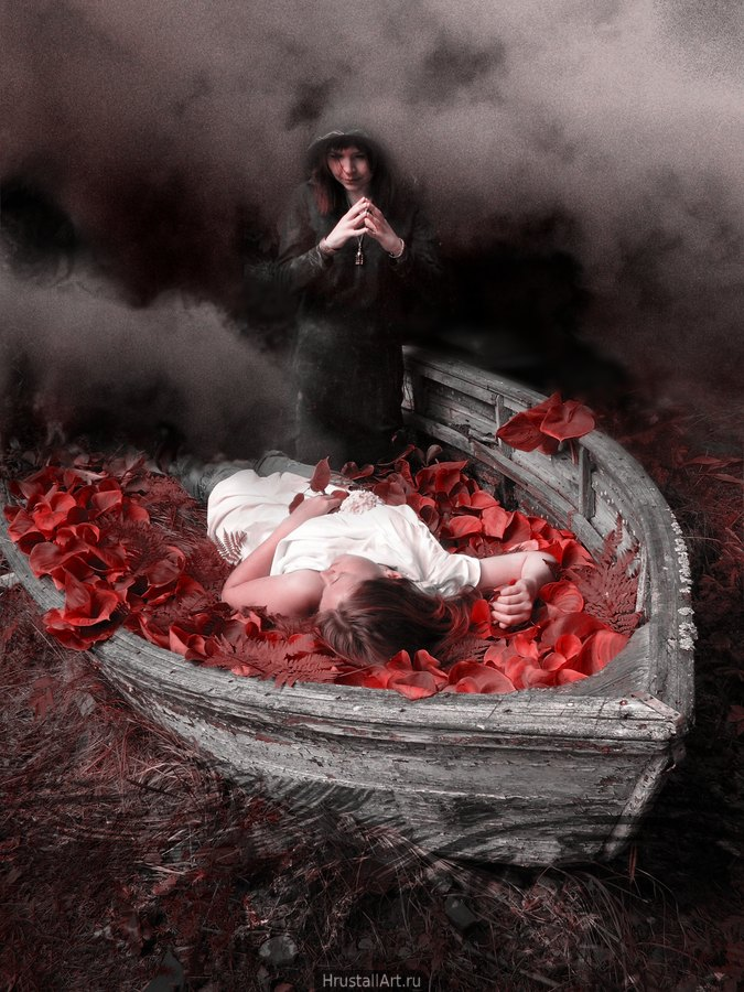 Старая лодка усыпана крупными красными листьями, в лодке лежит девушка в белом, над ней склонилась девушка в чёрном и пристально её разглядывает.