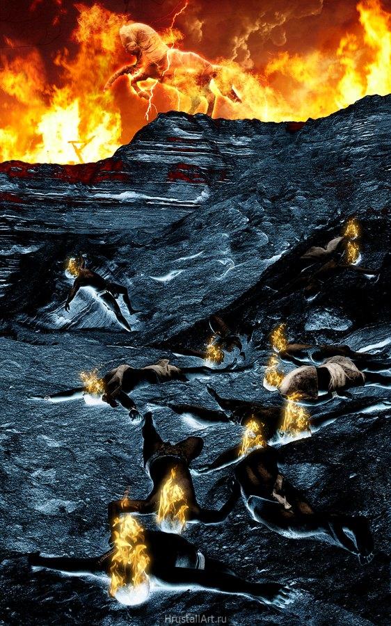 Песчаные обрывы сумрачных холодных цветов. В обрыве безвольно лежат фигуры людей, их головы объяло пламя. Верх картины весь объят пламенем пожара, на самом краю обрыва встал на дыбы конь-мумия.