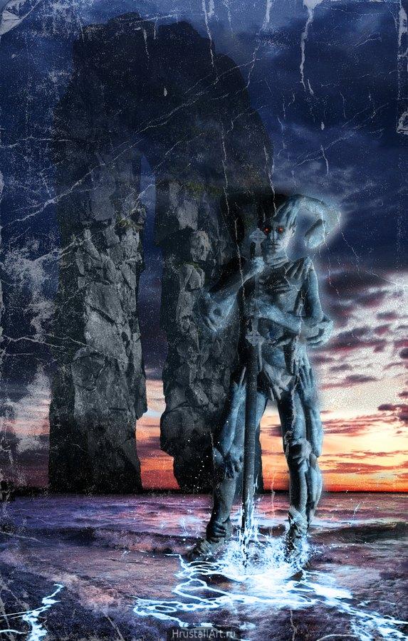 Перед огромными каменными воротами стоит существо с посохом, тело его покрыто руками словно одеждой.