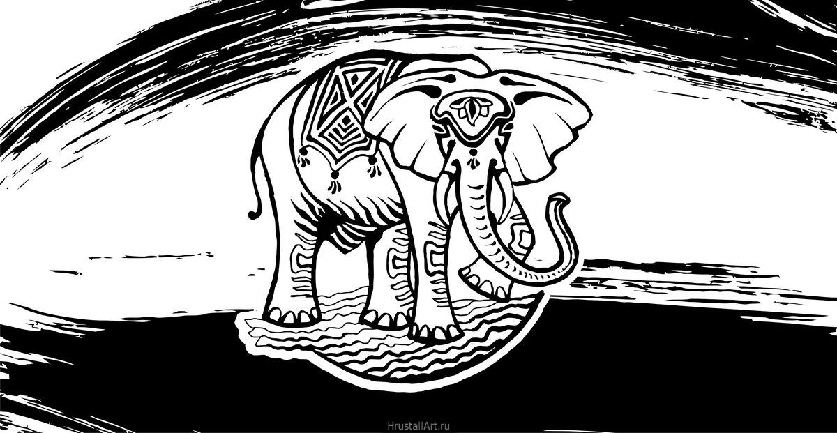 Рисунок тушью, декоративный слон в круге.