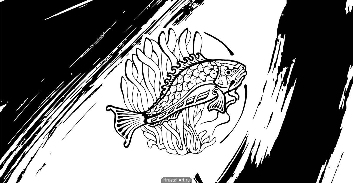 Рисунок тушью, декоративная рыба в круге.