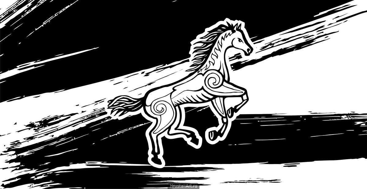 Рисунок тушью, декоративный конь.