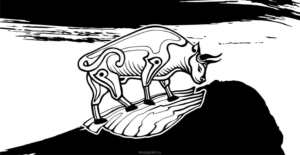 Рисунок тушью, декоративный бык в круге.