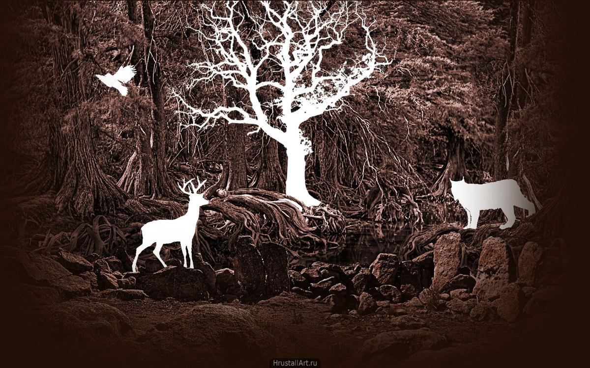 Фотография, коллаж, в лесной чаще белые силуэты барса, совы, оленя и дерева. Силуэты выглядят, как стёртые фрагменты фотографии.