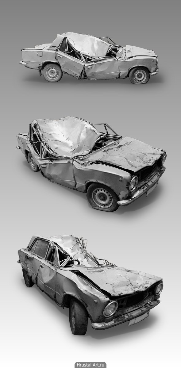 Фотография, разрушенный автомобиль с трёх точек съёмки.