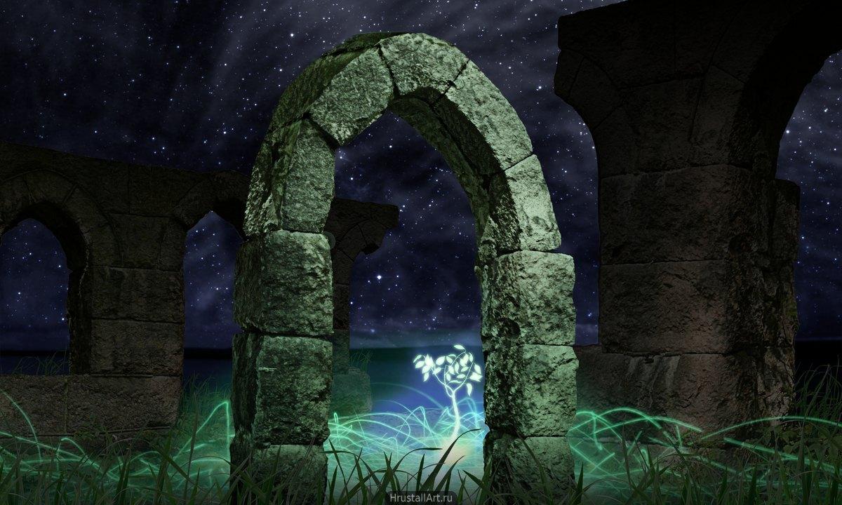 Среди старых руин растёт молодое светящееся в темноте дерево.