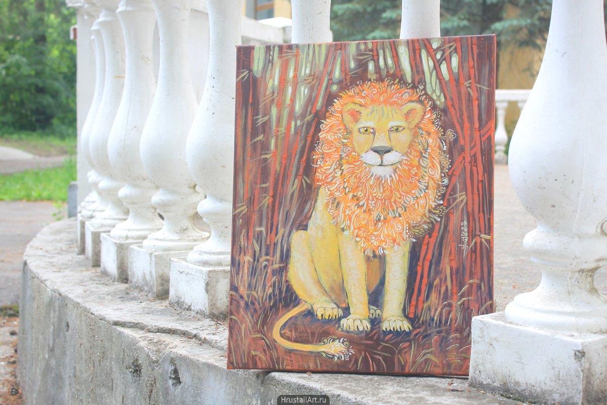 Цветущий лев в бамбуковой роще
