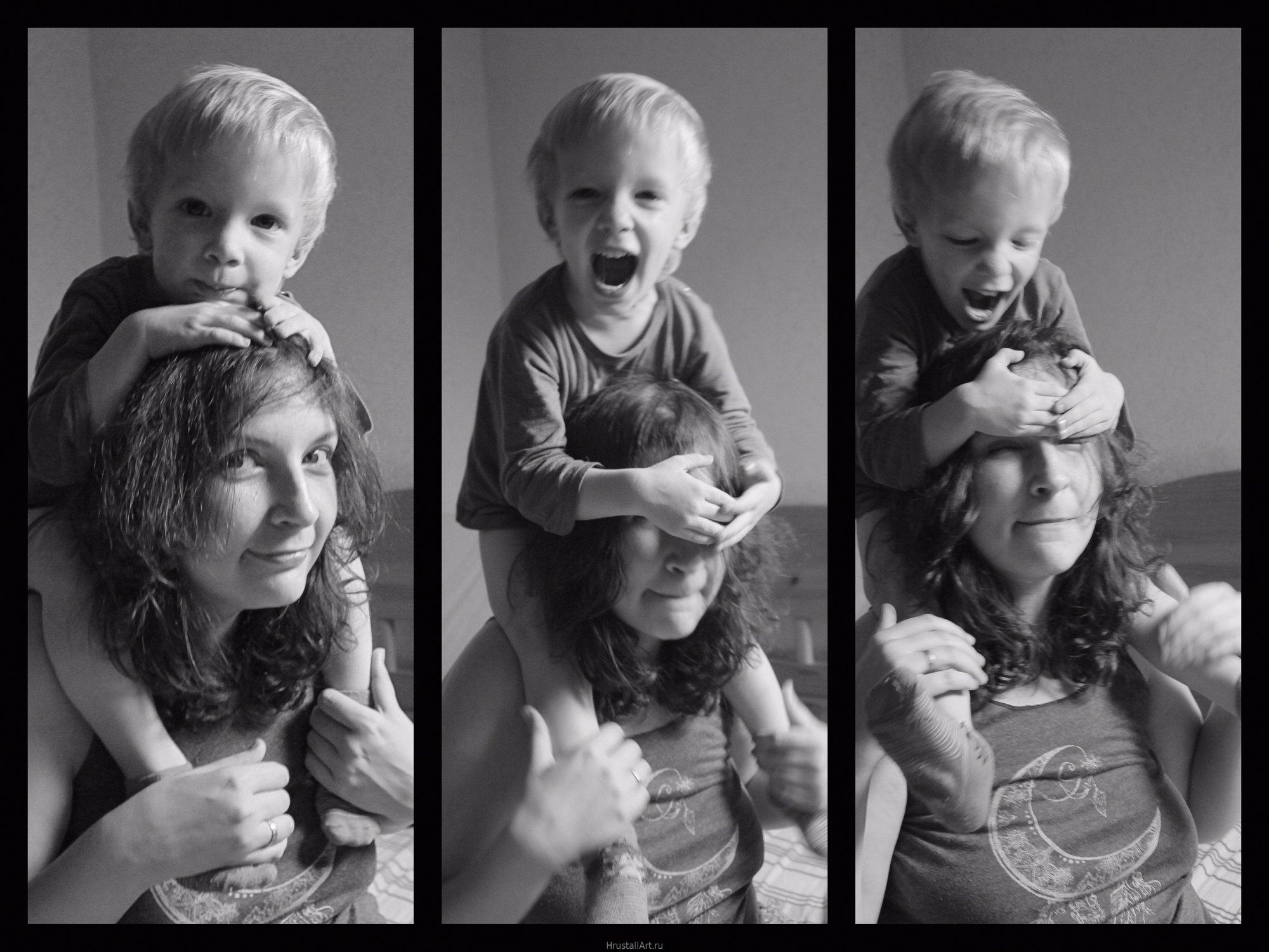 Ребёнок залез на мамины плечи и балуется.